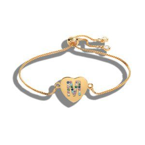 "Gold Heart Letter ""M"" Initial Name CZ Bracelet"